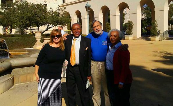 (L-R) Nicole Marie Hodgson, JWG, Robert Roberts and Michelle White at Pasadena City Hall courtyard prior to signing the petition (Photo - © Pasadena Tenants Union).