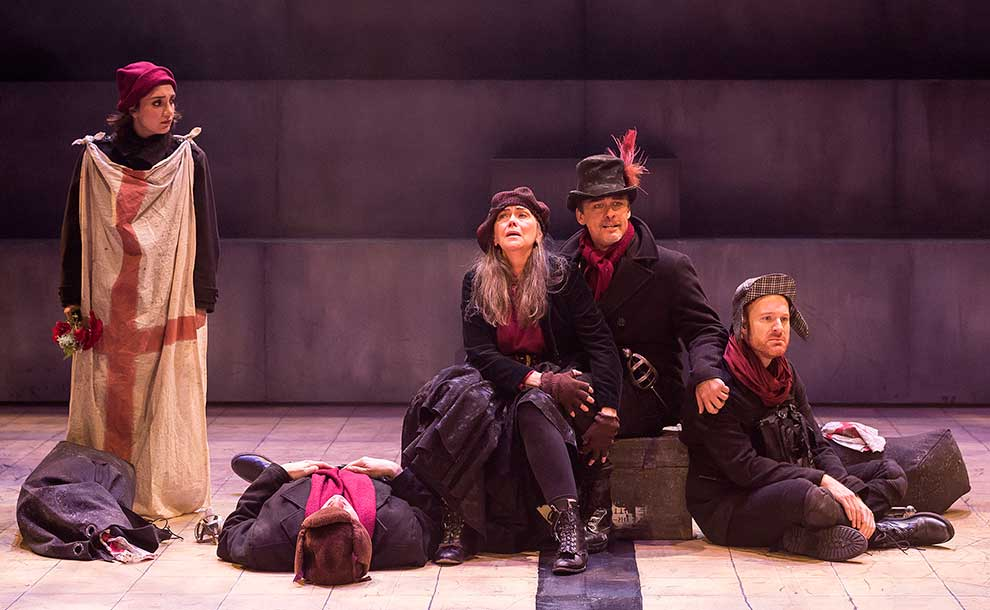 """Henry V"" at A Noise WIthin (L-R) Erika Soto as Boy, Jeremy Rabb as Bardolph (supine), Deborah Strang as Mistress Quickly, Frederick Stuart as Pistol, Kasey Mahaffy as Nym (Photo - Craig Schwartz)."
