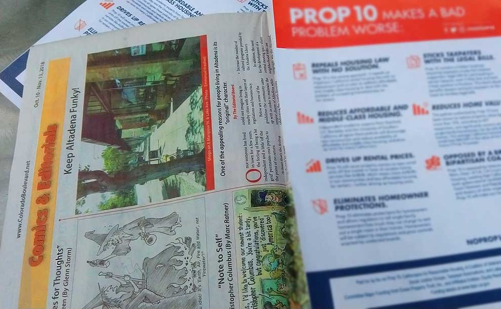Illegal inserts found inside the print edition of ColoradoBoulevard.net in Pasadena and Altadena (Photo - Staff).