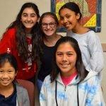 Anne Frank Docents (L-R) Keilah Yu, Natalie Bayrakdarian, Hannah Moss, Trinity Dela Cruz, and Jeannine Briggs (Photo – Felita Kealing).